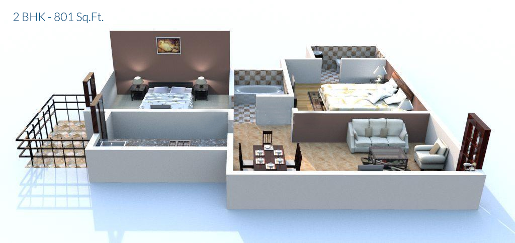 apex our homes by apex buildtech ltd  Floor Plan 2 bhk Size 810 Sq.Ft.