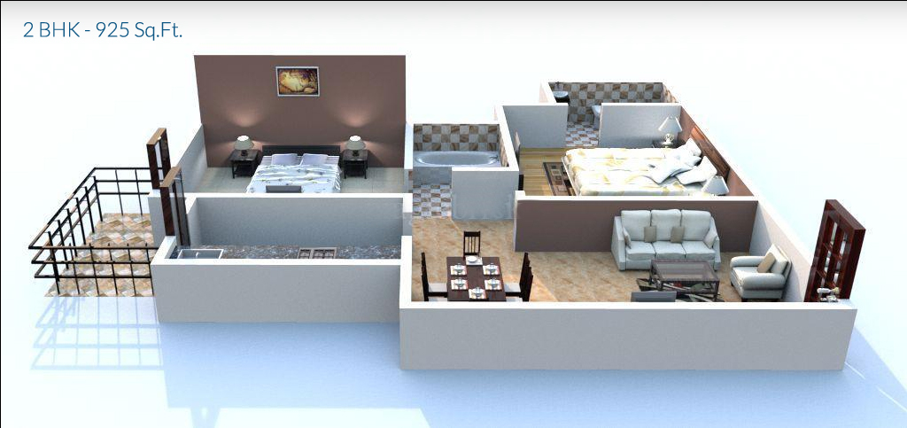 apex our homes by apex buildtech ltd  Floor Plan 2 bhk Size 925 Sq.Ft.