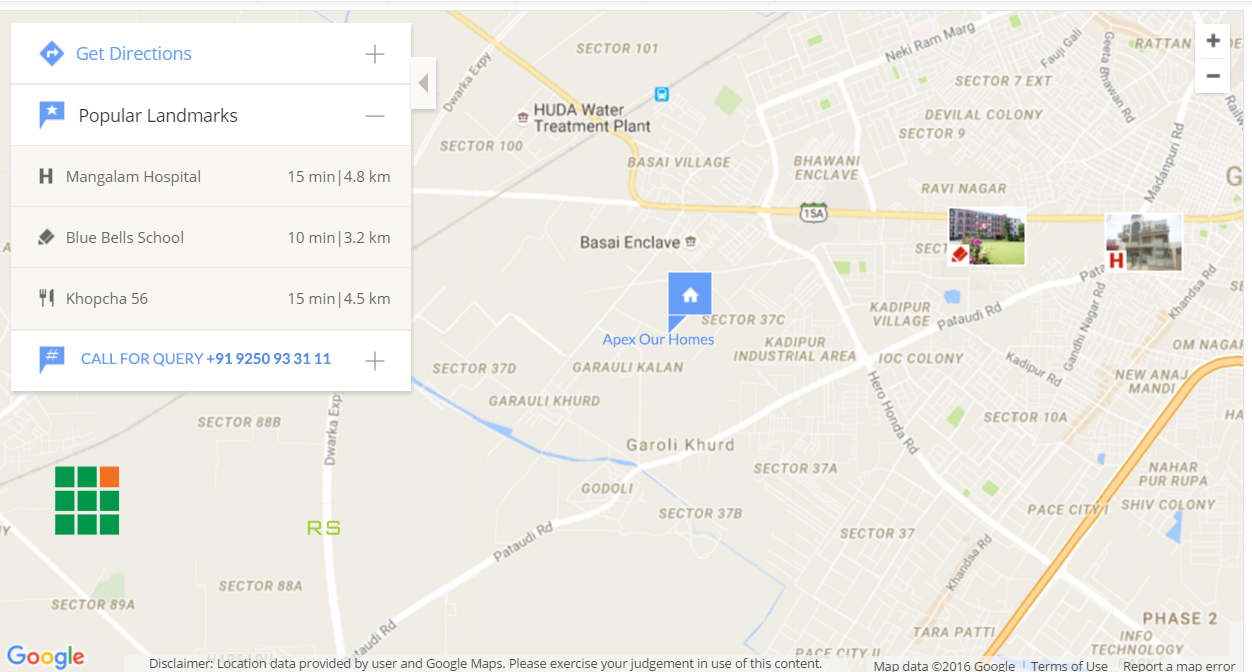 Apex Our Homes Sec 37c Gurgaon Locatin Map