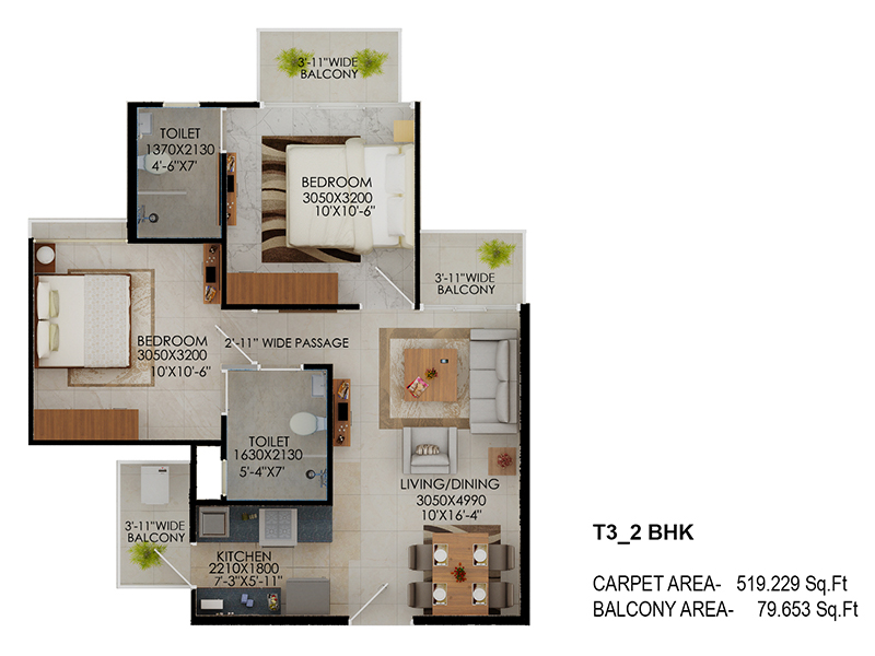 Signature Global The Millennia Floor Plans Option 3