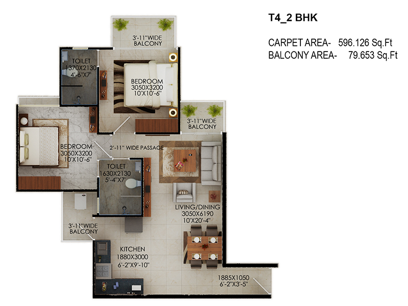 Signature Global The Millennia Floor Plans Option 4