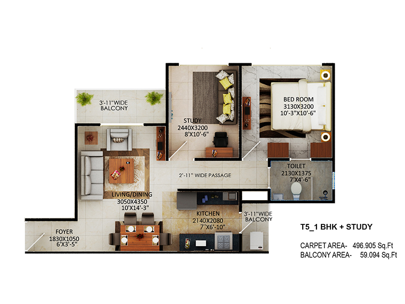 Signature Global The Millennia Floor Plans Option 5